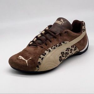 Puma Leopard Print and Suede Athletic Shoes